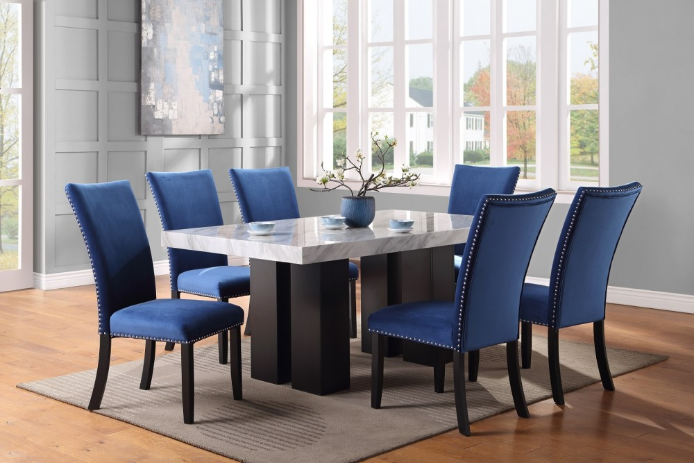 Croix Table & 4 Blue Chairs
