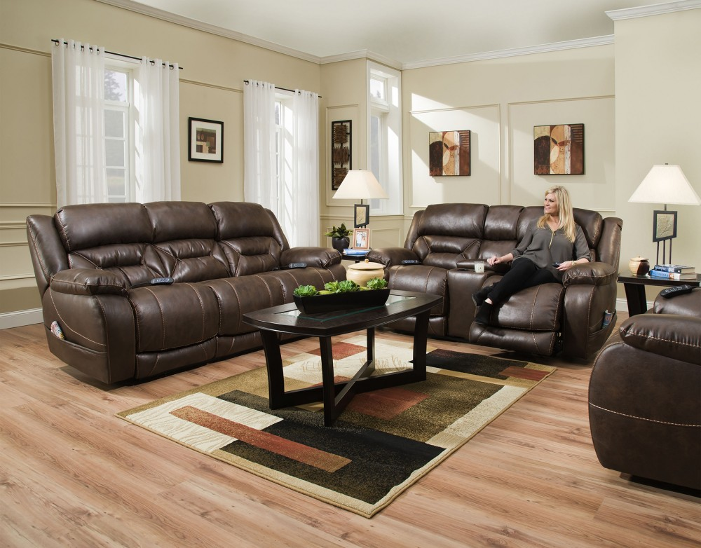 Homestretch Power Reclining Sofa and Loveseat