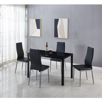 Black Glass Table & 4 Chairs