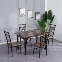 Faux Marble Top Table & 4 Chairs