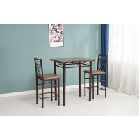 Faux Marble Pub & 2 Chairs