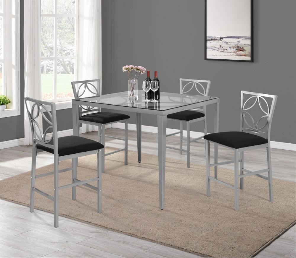 Metal Base Glass Top Pub & 4 Chairs
