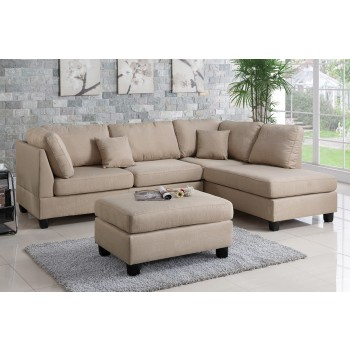 Beige Reversible Sectional Sofa with Ottoman