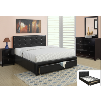 Queen Black Leather Storage Bed