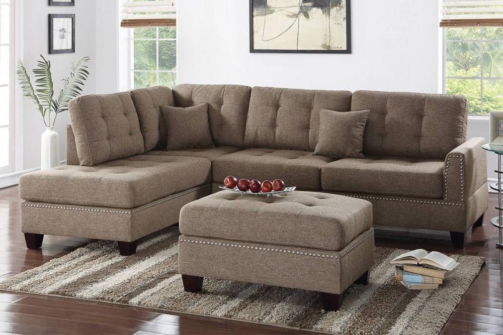 Durden Brown Linen Reversible Sectional Sofa