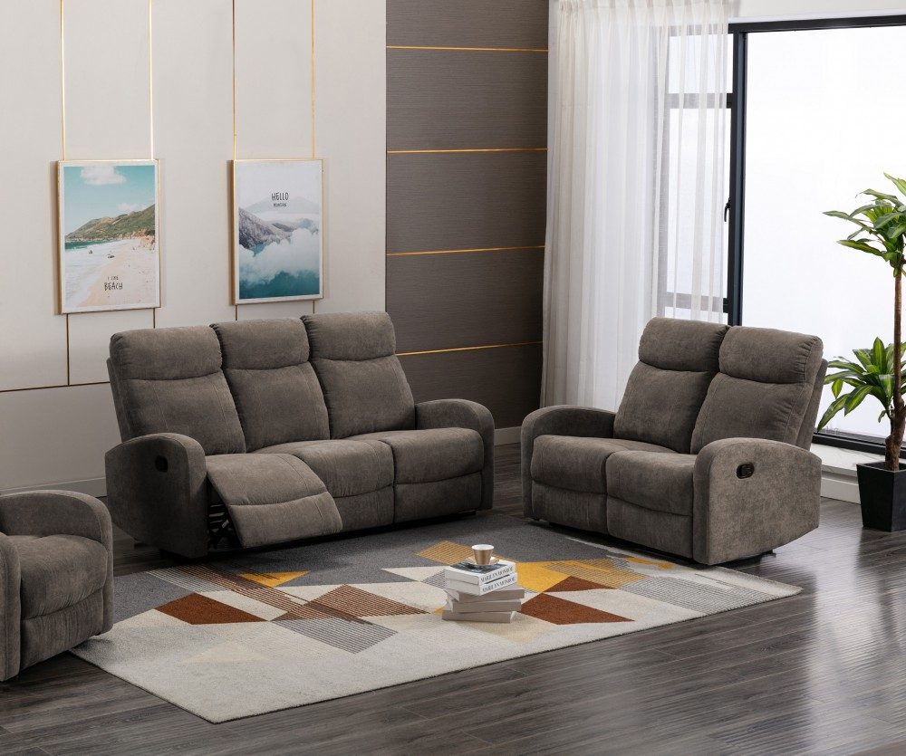 Chenille Reclining Sofa & Love