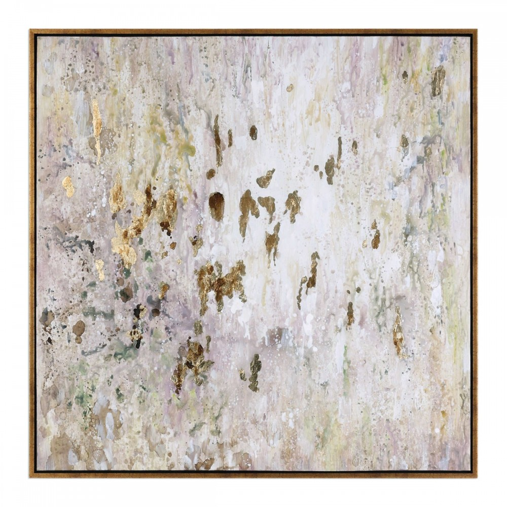 Golden Raindrops - Framed Canvas Art