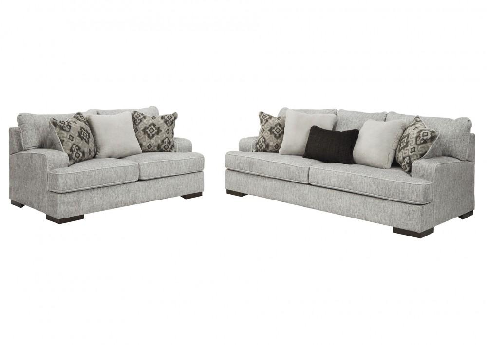 Mercado - Pewter Sofa and Loveseat Set