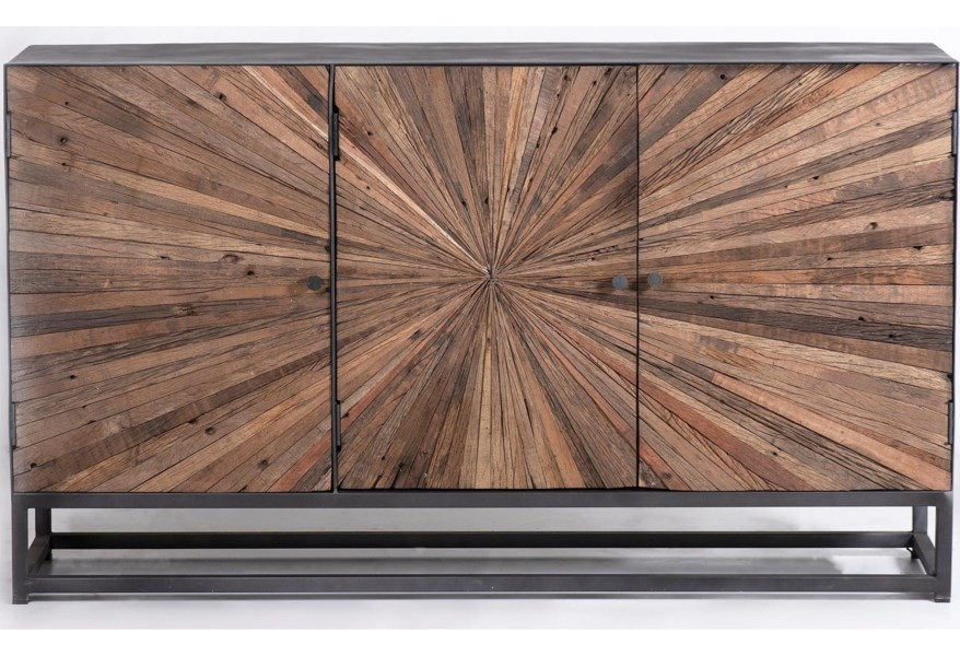 Astral Plains - Natural Three Door Accent Cabinet