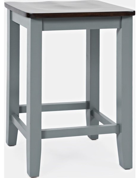 Asbury Park - Grey/Autumn Backless Saddle Stool