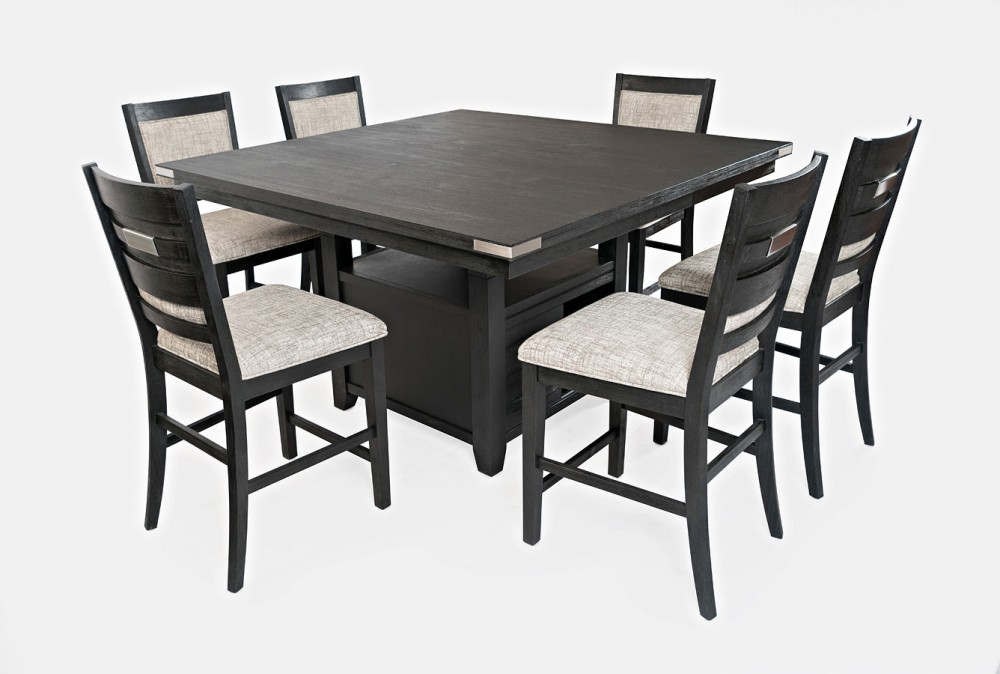 Altamonte - Black Extension Counter Dining Set w/ Storage Base (7/CN)