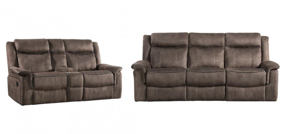 Kisner - Lorenzo Brown Reclining Sofa and Loveseat Set