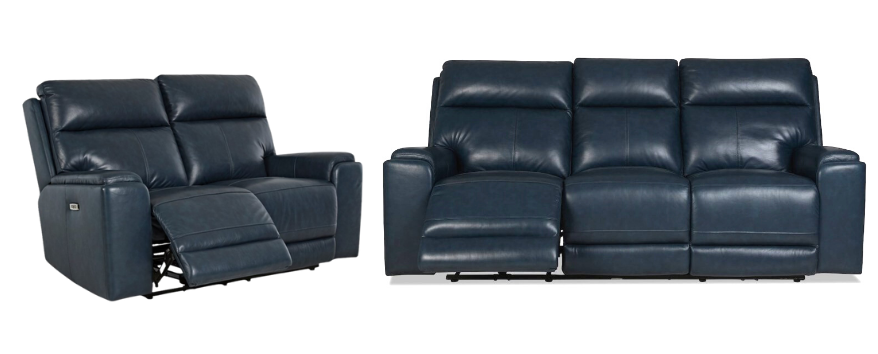 Santana - Navy Leather Power Reclining Sofa and Loveseat Set