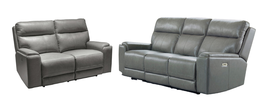 Santana - Gray Leather Power Reclining Sofa and Loveseat Set