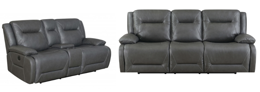Dansby - Charcoal Leather Power Reclining Sofa and Loveseat Set