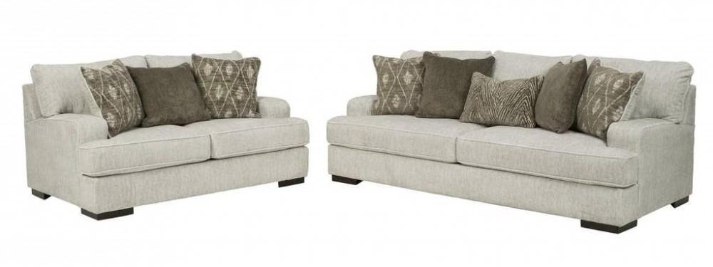 Alesandra - Parchment Sofa and Loveseat Set