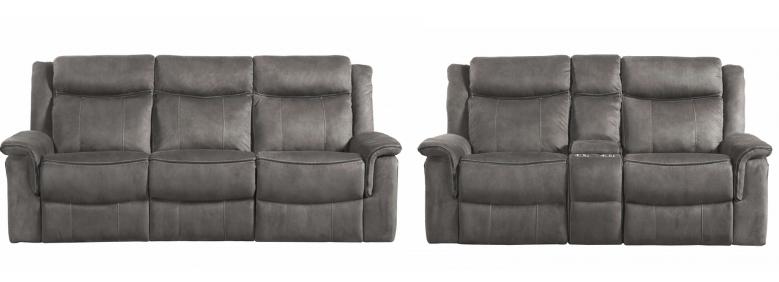 Kisner - Grey Reclining Sofa and Loveseat Set