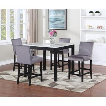 Nina Pub Table + 4 Chairs Silver