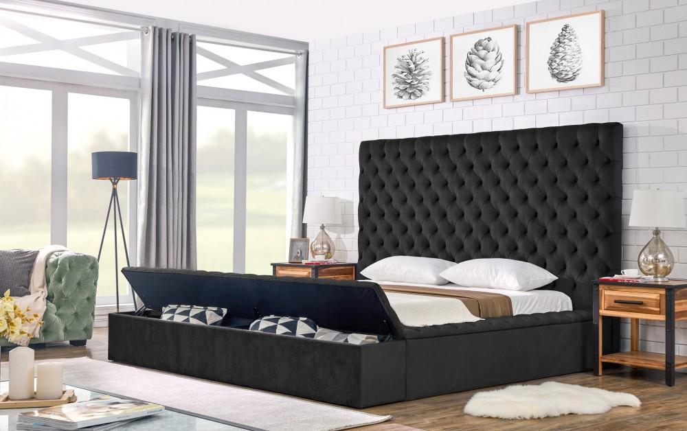 Miri Velvet Black Storage Bed