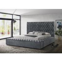 CJ Velvet Silver Storage Bed
