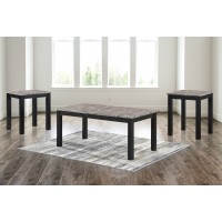 Dash Brown Faux Marble Table SET 3 Pack