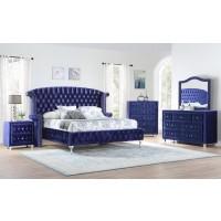 B039 king blue bed Dresser , mirror , nightstand , chest
