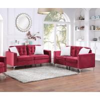 Burgundy Velvet Sofa & Love