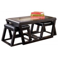 Kelton - Rect Cocktail Table w/ Ottoman Pair