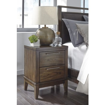 Zilmar - Walnut Brown - Two Drawer Night Stand