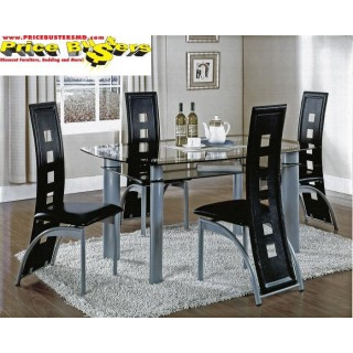 Metro Black Table and 4 Chairs