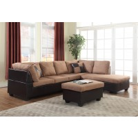 Mocha Two Piece Sectional with Ottoman Under $500