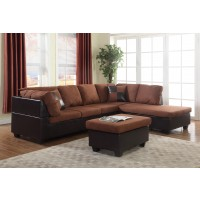 Chocolate Two Piece Sectional With Ottoman Under 500