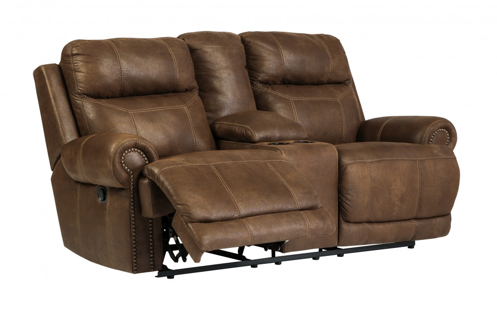 Austere - Brown - DBL Rec Loveseat w/Console