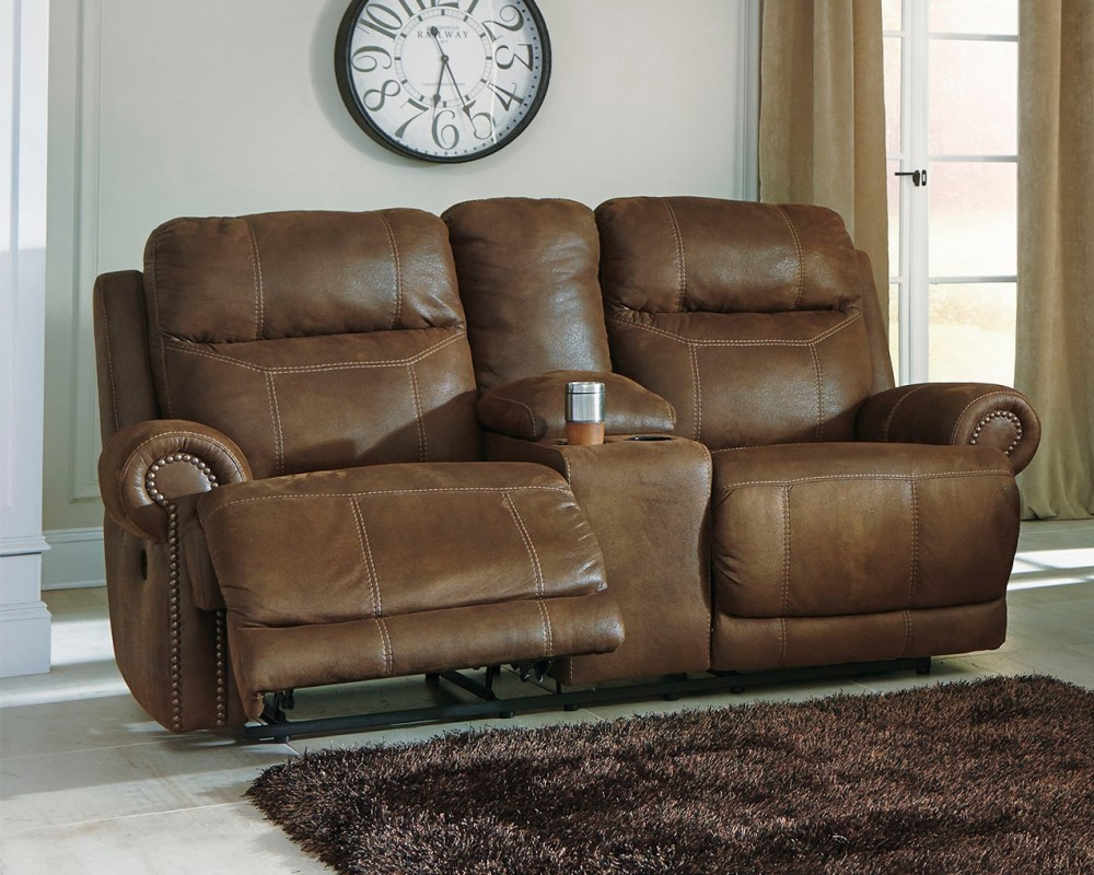 Austere Brown Dbl Rec Loveseat W Console Amp Power