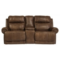 Austere - Brown - Dbl Rec Loveseat w/ Console & Power