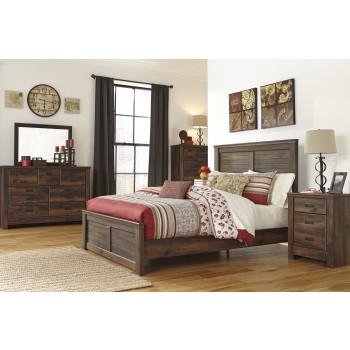 Quinden 6 Pc. Bedroom - Dresser, Mirror, Queen Panel Bed & Nightstand