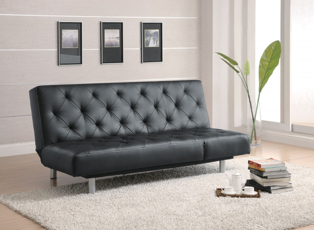 Black Vinyl Sofa Bed - 300304