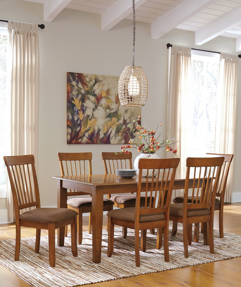 Berringer Rectangular Dining Room Table & 6 Side UPH Chairs