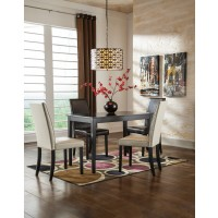 Kimonte Rectangular Table, 2 Ivory UPH Side Chairs & 2 Brown UPH Side Chairs