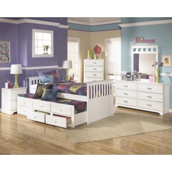 Lulu Twin Bed w/Trundle, Dresser & Mirror