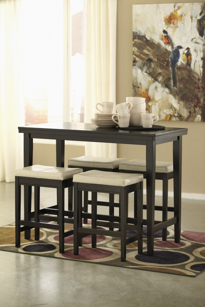 Kimonte RECT Dining Room Counter Table  & 4 Cream UPH Bar Stools