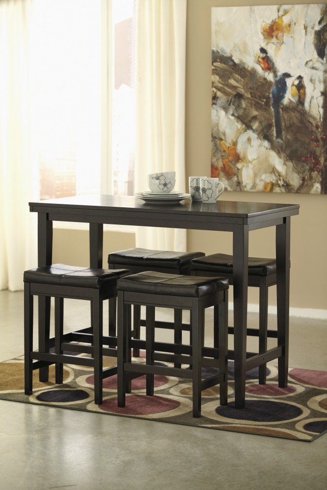 Kimonte RECT Dining Room Counter Table & 4 Dark Brown UPH Barstools