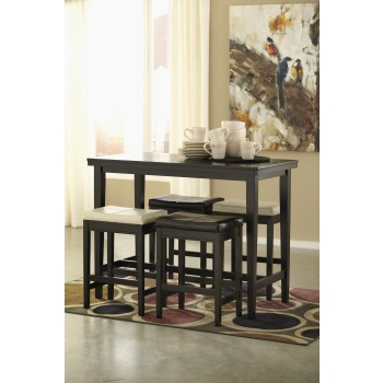 Kimonte RECT Dining Room Counter Table, 2 Cream UPH Barstools & 2 Dark Brown UPH Barstools