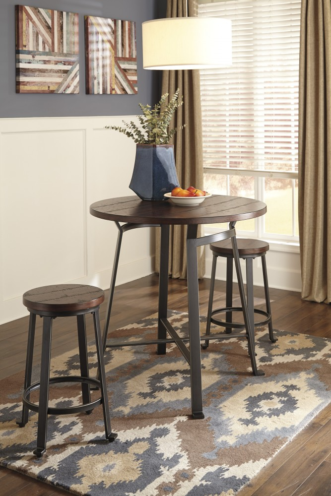 Challiman Round DRM Counter Table  & 2 Bar Stools