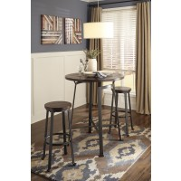 Challiman Round Dining Room Bar Table & 2 Tall Stools