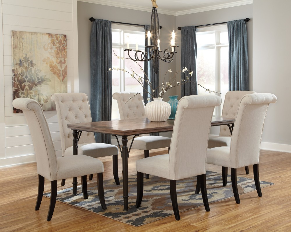 Tripton rectangular dining room table 6 uph side chairs d530 016 25 dining room groups mirab homestore and furniture gallery