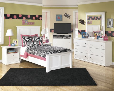 Bostwick Shoals Dresser, Mirror & Twin Panel Bed