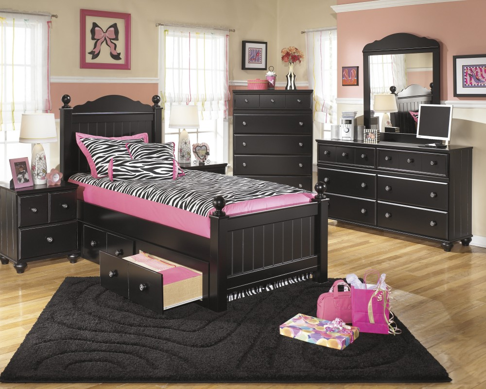 Jaidyn Twin Poster Bed with Storage