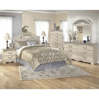Catalina 4 Pc. Bedroom- Dresser, Mirror, Queen/Full Panel Headboard & Two Drawer Nightstand