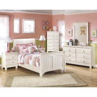 Cottage Retreat Twin Sleigh Bed, Dresser, Mirror & Chest